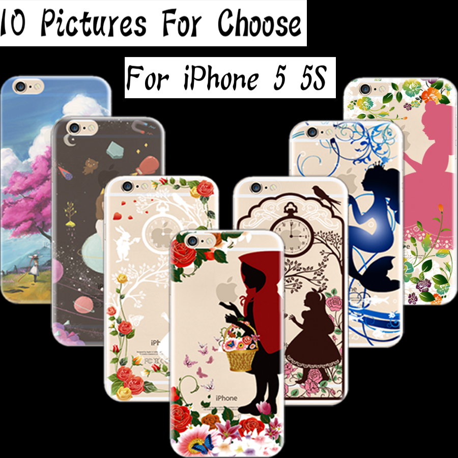 5/5S SE 4'' Cover For Apple iPhone 5 5S SE Case Cases Phone Shell Soft TPU Painted Princess Dream Planet Pick Flowers(China (Mainland))