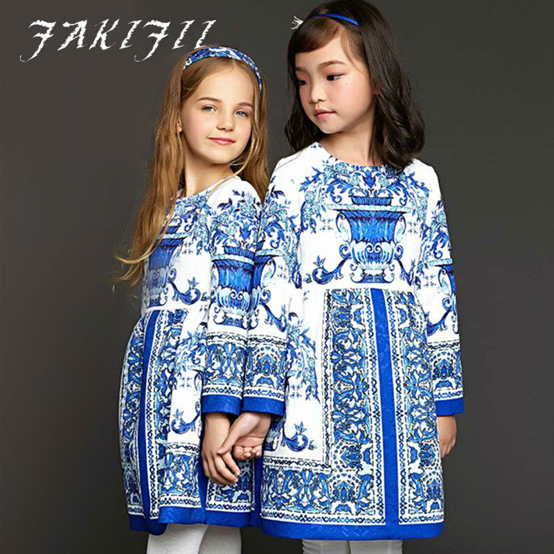 Girls Dress 2015 Autumn Winter Flower Girl Dresses Christmas Blue Majolica Print Dobby Princess Dress for Girls Clothes <br><br>Aliexpress