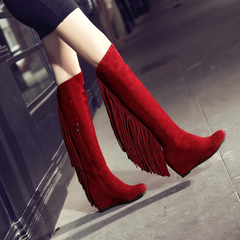 Sexy Red Zipper Up Wedged Winter Autumn Slim Knee Thigh High Boots Fringle Gladiator Women Boots Flats Suede Leather Boots Flats