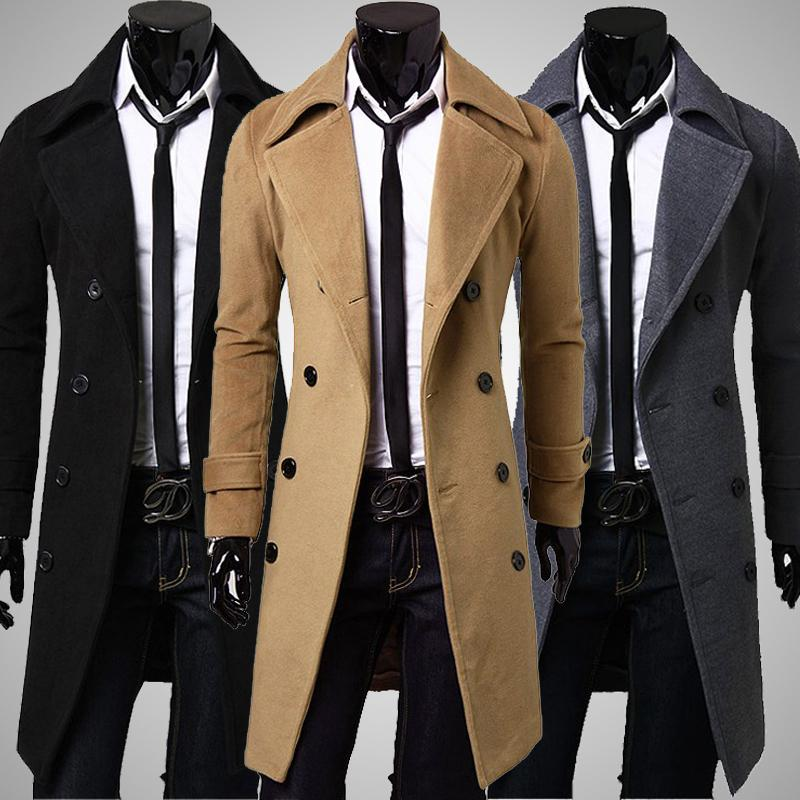 2016 Winter Men Trench Coat Long Double-breasted Trenchcoat Mens Outwear Overcoat Warm solid Men's Trench large Size(China (Mainland))
