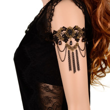 New Design Fashion Lace Bracelet Mysterious Gothic Style Black Stone Metal Tassel Bracelet Arm Chain For Women(China (Mainland))