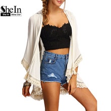 SheIn Shirts And Tops For Ladeis Three Quarter Length Sleeve Cotton Beige Fringe Lace Insert Casual Kimono(China (Mainland))