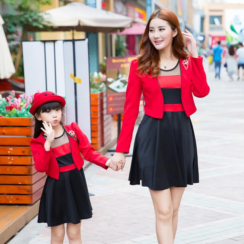 Fashion font b Family b font Clothing Coats Dress 2pcs Clothes for Mother and Daughter Dress