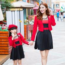 Fashion Family Clothing Coats+Dress 2pcs Clothes for Mother and Daughter Dress Clothes Family Matching Outfits Clothing TX05