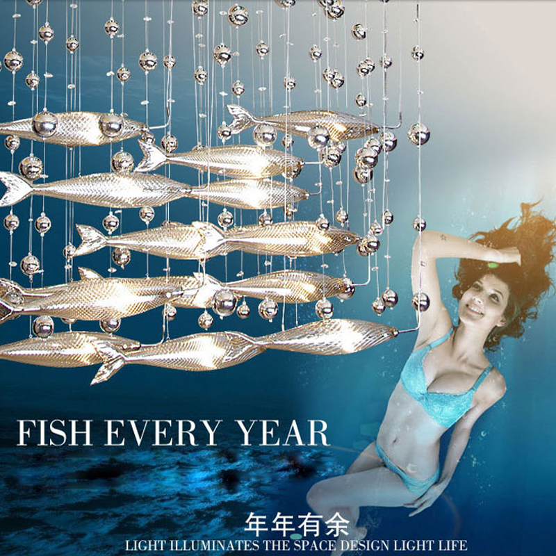 Creative crystal glass flying fish chandelier for restaurant living room dining room decor 1889(China (Mainland))