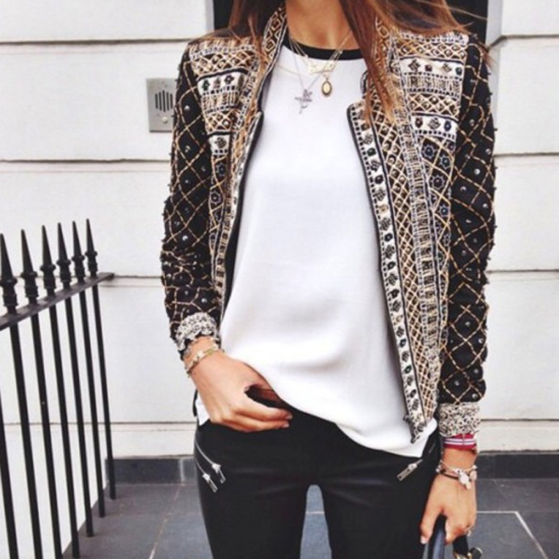 2016 Women'S Jacket Europe Printing Long Sleeve Spring Casual Fashion Jackets For Women Hot Sale Women'S Jacket S20732(China (Mainland))