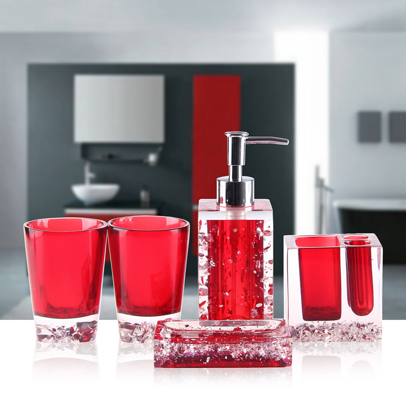 Hot sale 5pcs resin bath set household bathroom set for Bathroom accessories sets on sale
