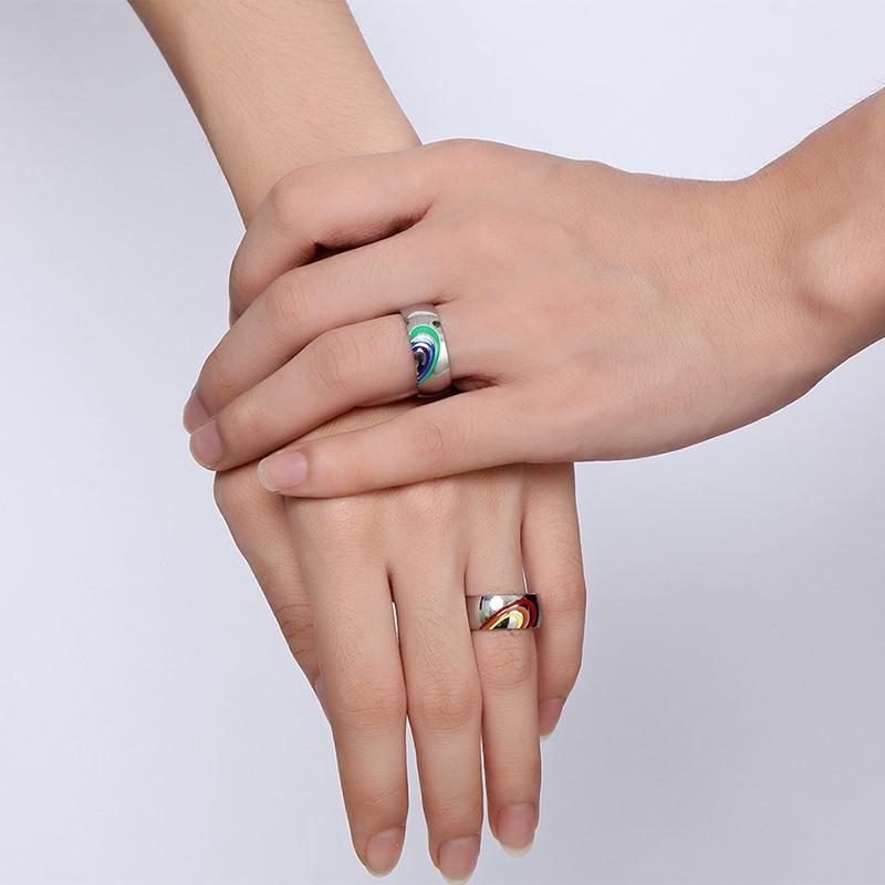 Vnox 2016 New Heart Rainbow Ring Gay and Lesbian LGBT Pride Wedding Rings Unique