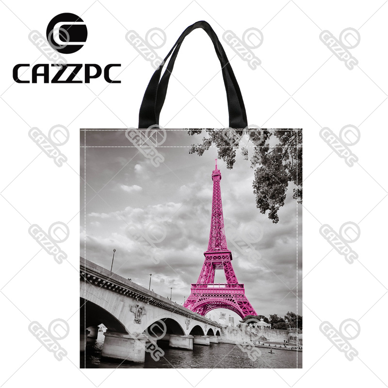 Retro Pink France paris Eiffel Tower Print Custom individual waterproof Nylon Fabric shopping bag gift bag Pack of 2(China (Mainland))