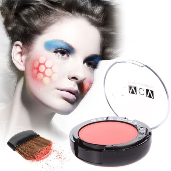 Moblin Compact Round Case Face Blusher with Mirror and Brush Face Make-up Cosmetic Gadget for Lady Women HCI-116045(China (Mainland))