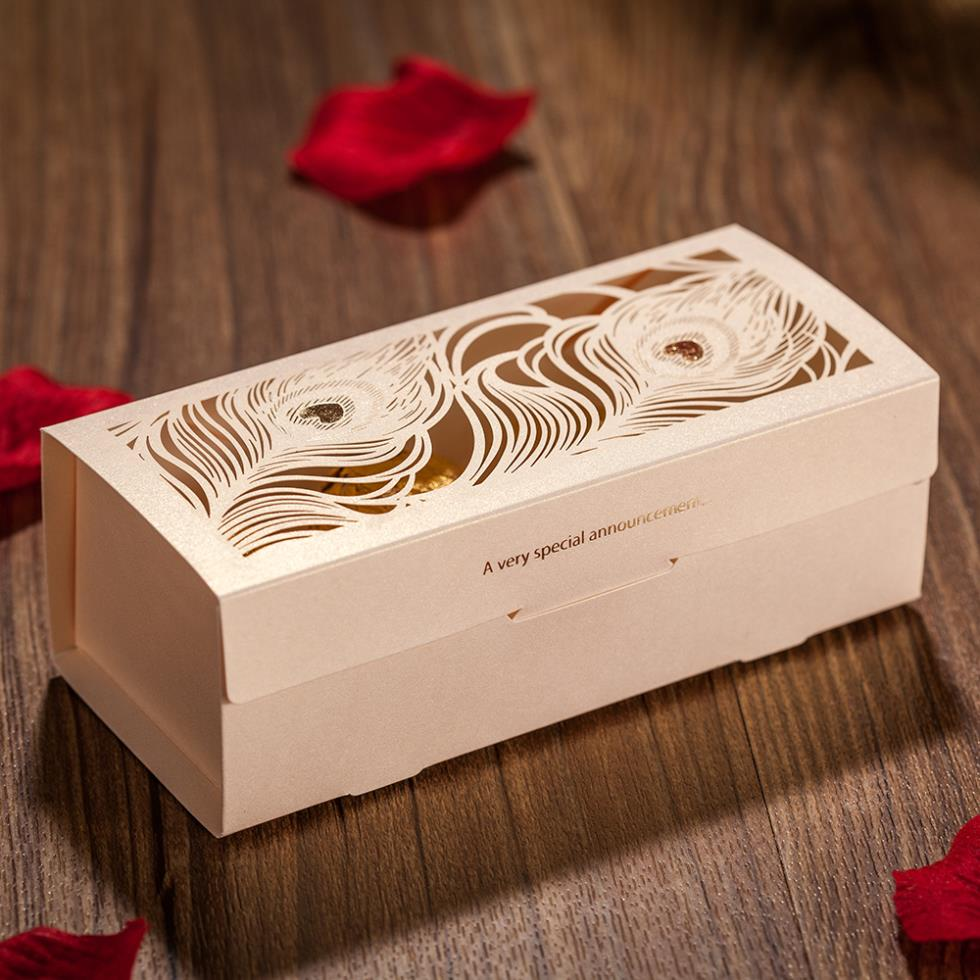 Wholesale 50 piece peacock feather cut out wedding favor for Cheap wedding favor boxes