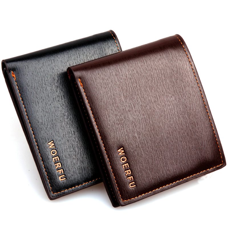Men genuine leather short wallet  purses card package holder 2015 new fashion black coffee high quality wbg01352<br><br>Aliexpress