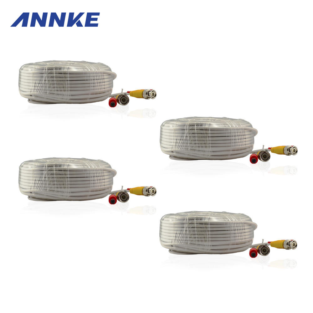ANNKE 4 Pack 30M 100ft CCTV Cable BNC + DC Plug Video Power Cable for Wire AHD Camera and DVR Surveillance System Accessories(China (Mainland))