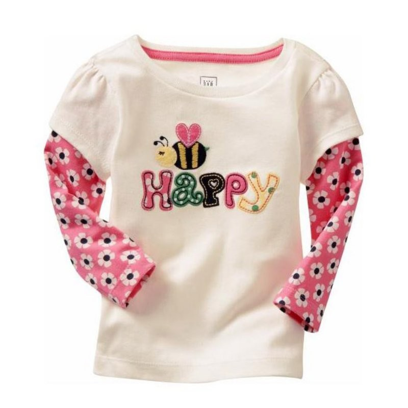 New Baby Girl Long Sleeve Pattern Printed T-shirt Blouse Casual Tee Shirt Tops Clothes W02 WQ08