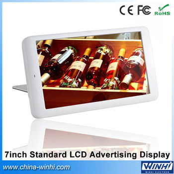 Low cost 7inch plastic shell 1080P decode usb sd card video picture music digital signage types of advertising board