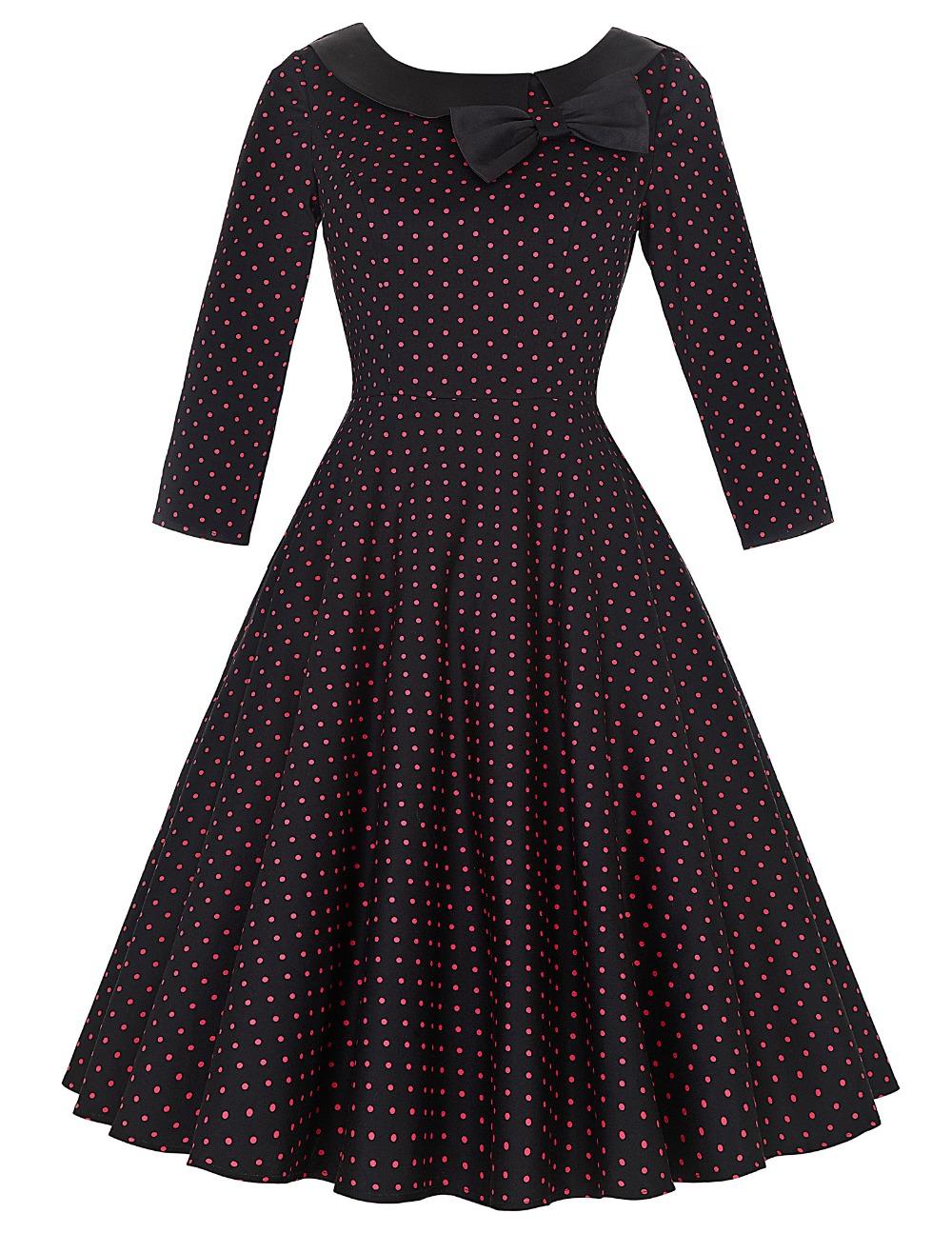 2016 Tonval Women Retro Polka Dot 50s Vintage Swing Dress vestido Elegant Tunic 2/3 Sleeve Ladies Formal work wear Party Dresses