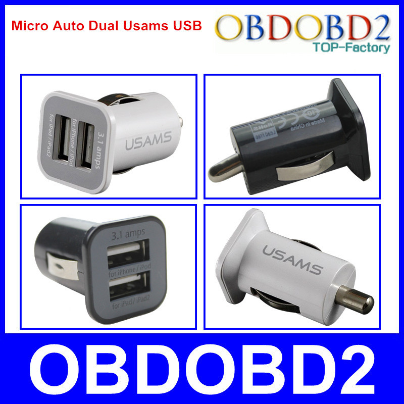 2015 New Arrival Auto Usams USB 5V 3.1A USAMS mini dual port USB car charger Adaptor For Multi Devices(China (Mainland))