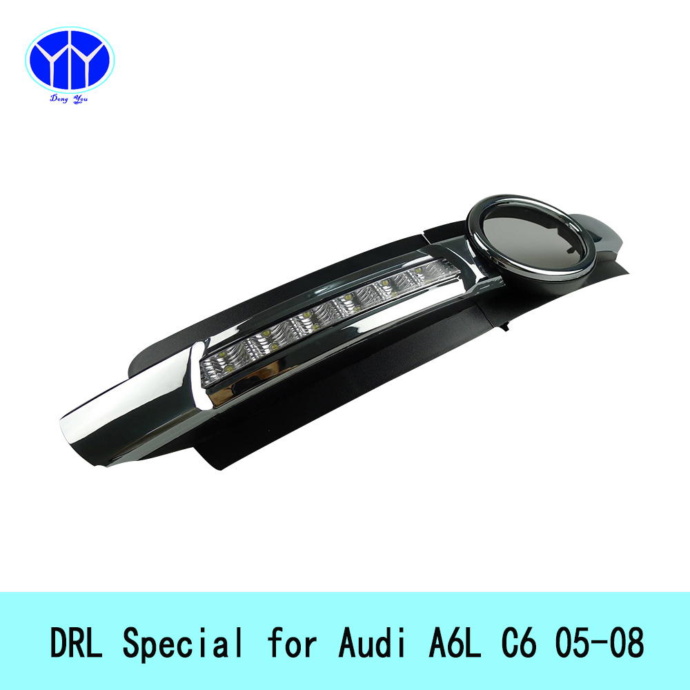 Фотография 12V LED Daytime Running Lights for Audi A6 L C6 2005-2011 super bright waterproof External bar light cree fog lamp auto car drl