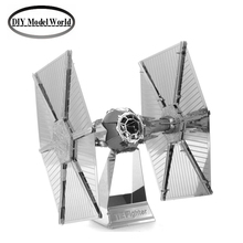 Zaping Tie Fighter model laser cutting 3D puzzle DIY metalic spacecraft jigsaw free shipping Star war model birthday gifts