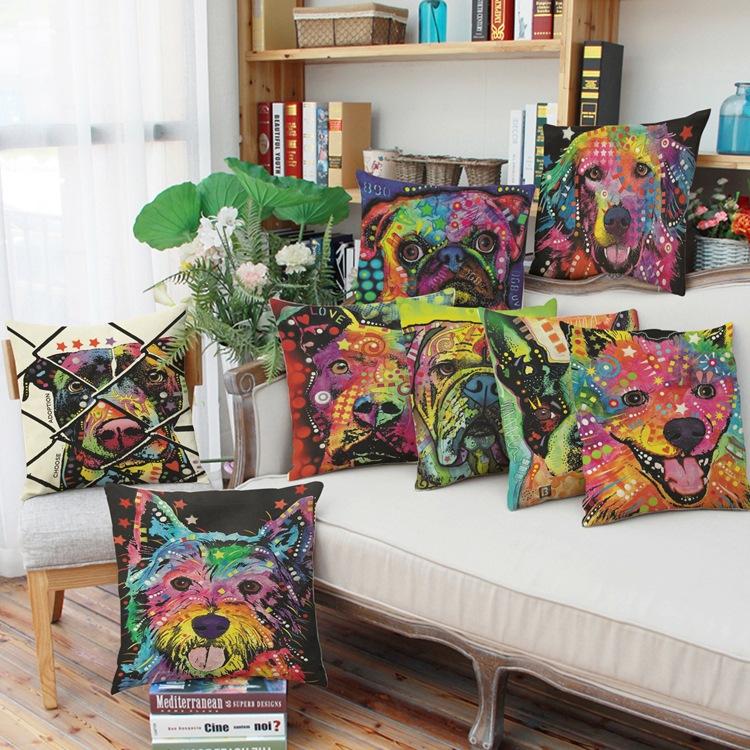 vente chaude coton lin color bull terrier peint b - Coussin Color Pas Cher