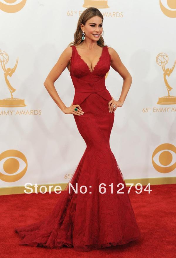 Sexy V Neck Lace Satin Mermaid Sofia Vergara - Emmys Red Carpet Celebrity Dresses 2014(China (Mainland))