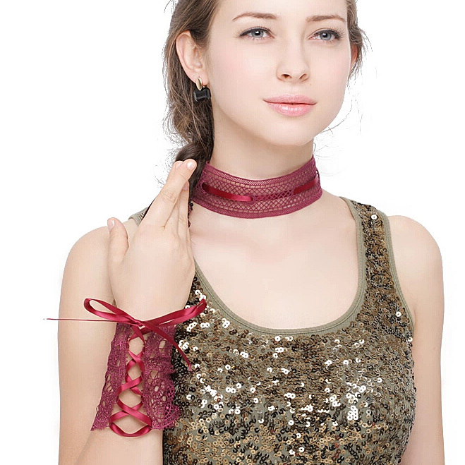 High quality!!!New Hot Sale Ladies Shaped Wire Crochet Lace Necklace Bracelets B1628 PJP(China (Mainland))
