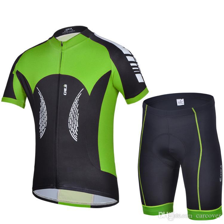 2015 Cheji Green Men Summer Cycling Jersey Sets Stylish Bicycle Bike Wear Shirts and Shorts Super Cheap Factory Sell Breathable(China (Mainland))