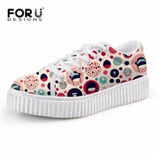 Buy FORUDESIGNS Cute Womens Cartoon Flat Shoes Fashion Lace-up Platform Creepers Shoes Casual Ladies Spring Summer Students Flats for $29.39 in AliExpress store