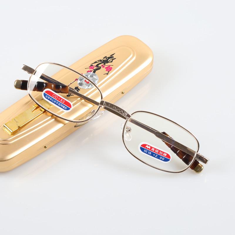 Slim Pocket Eye Glasses Mini Stylish Metal Foldable Reading Glasses with Case(China (Mainland))