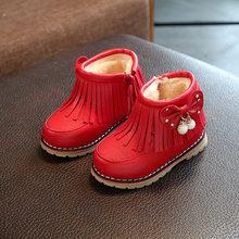 Kış çocuk kar botları bebek kız marka yumuşak alt çocuk çizmeleri ayakkabı moda prenses kız pamuk peluş kürk sıcak Botas(China)