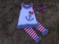 2015  hot seller baby girls  outfits red & white  stripe capri set July 4th  capri set with matching bows and necklace