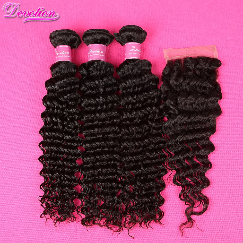 7A Peruvian Virgin Hair With Closure Peruvian Deep Wave With Closure Virgin Hair 4 Bundles Human Hair Bundles With Closure