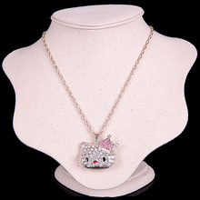 [Min. 6$]New Rose Gold Plated Korea Crystal Cute hello kitty Cat fashion Pendant Necklace for women 2015 Jewelry N085(China (Mainland))