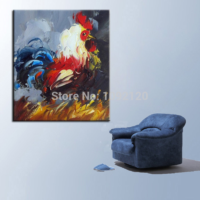 Modern Animal Knife Painting Abstract Cock Oil Painting Canvas Handmade Decorative Art Home Decor Living Room