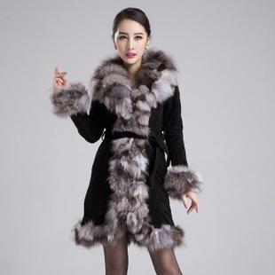 genuine leather jacket fox fur coat women long winter plus size EMS F527 - Cocol colette Fashion co.,Ltd store
