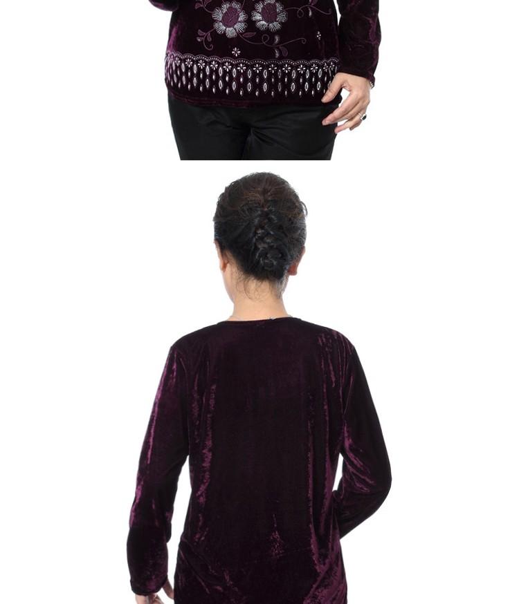 Autumn Quinquagenarian Velvet Blouses Flannel Tops Middle age Women\'s Red Blue Black Purple Blouse Flower Pattern Clothings Mom cccccc