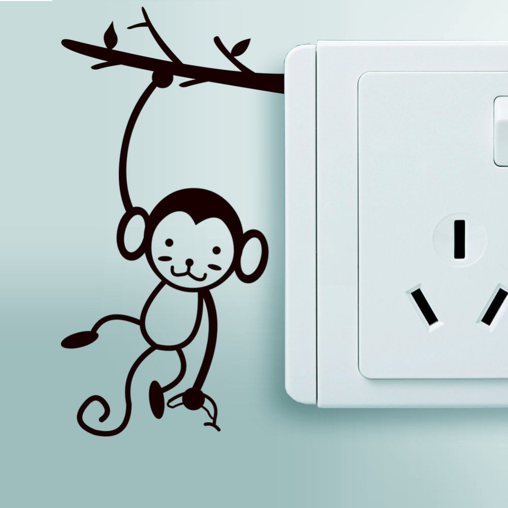 Small Monkey Art Vinyl Wall Sticker Home Wall Decals Light Switch decor DIY decoration wall stickers for kids room Nursery(China (Mainland))