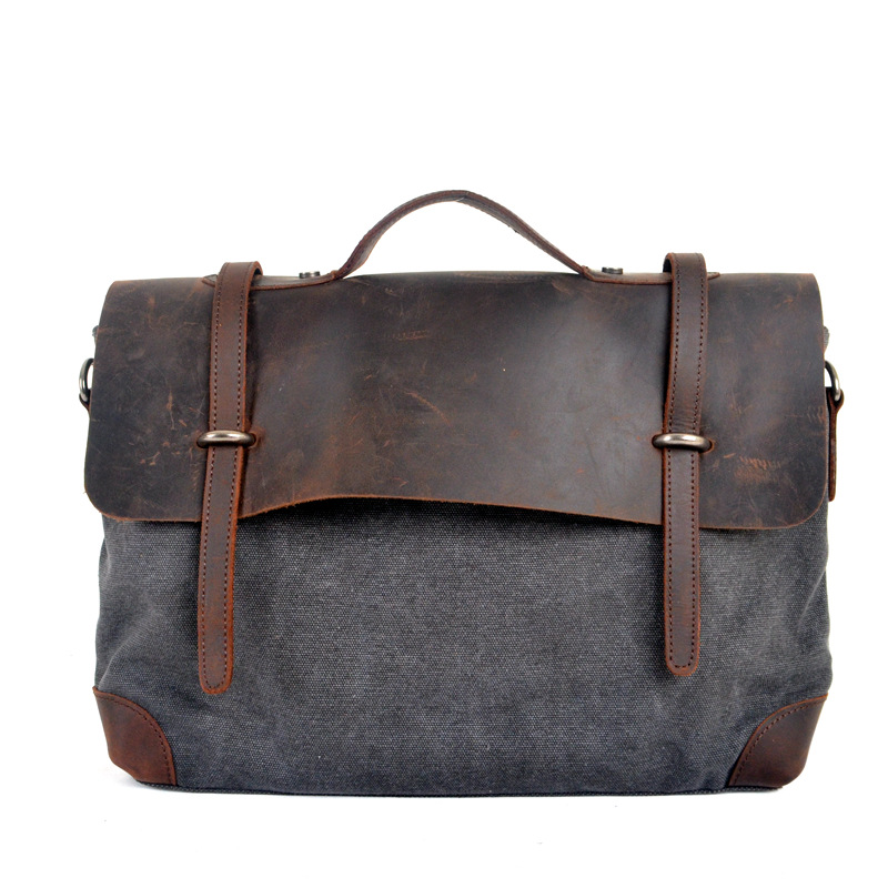 Fashion Retro Woman Men Messenger Bags High Quality Thick Cotton Canvas+Genuine Leather Unisex Casual Crossbody Shoulder Bags(China (Mainland))