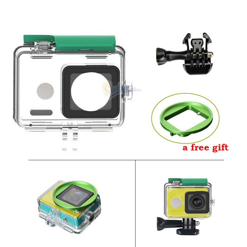 Xiaomi Yi Case Waterproof Case XiaoYi Action Sport Camera Waterproof Case Accessories +Diving Filter Adapter Ring(China (Mainland))