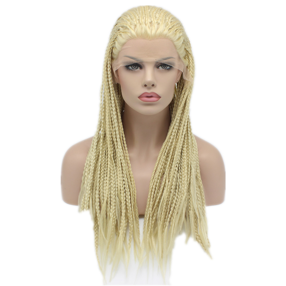 Фотография 4Cheap Synthetic Braiding Light Blonde Hair Wig Full Long Heat Resistant Fiber Micro Braided Lace Front wigs For Black Women