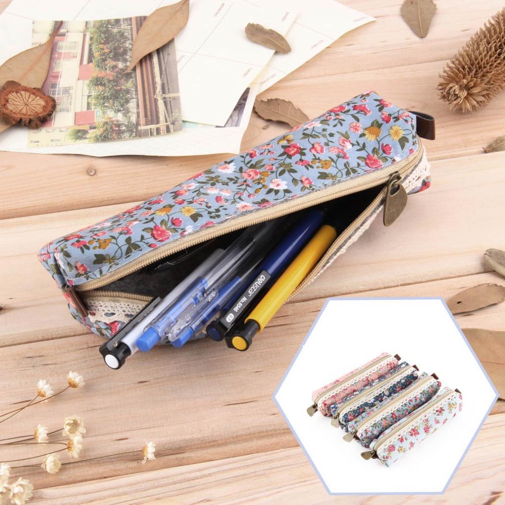 Гаджет  1pc Hot Newest Retro Flower Floral Lace Pencil Case,pencil bag school supplies Cosmetic Makeup Bag Zipper Pouch Purse None Офисные и Школьные принадлежности