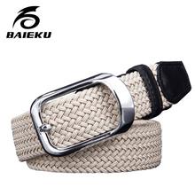 Buy baieku Canvas elastic woven belts young men needle han edition belt slack tide male fashion belt buckle joker for $26.55 in AliExpress store