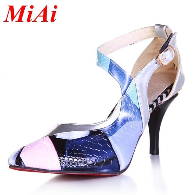Новый 2015 летняя мода стиль сексуальные женские высокие каблуки печати обувь женщина ...