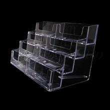 8 Pocket Desktop Office Counter Acrylic Business Card Holder Stand Display Clear(China (Mainland))
