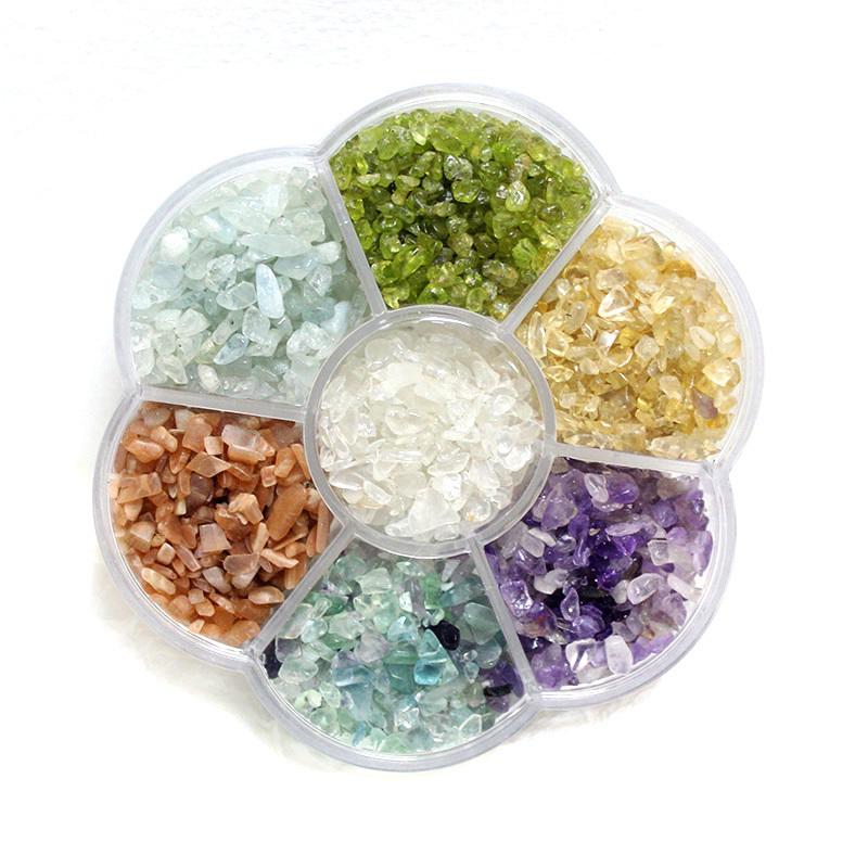 Semi Precious Gemstone Raw Stone : Natural crystal beads seven color chakra stone box