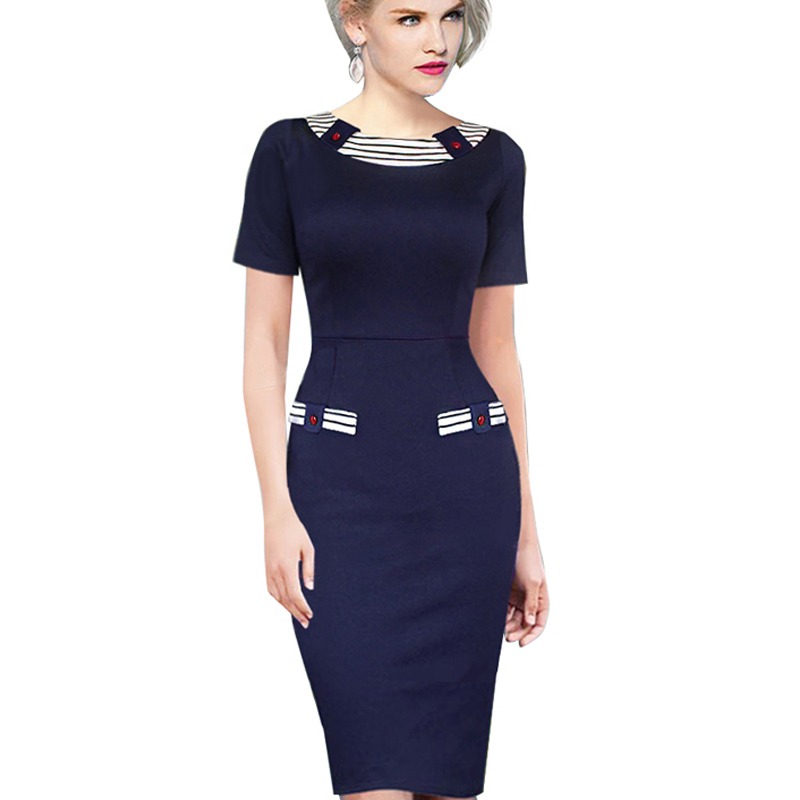 Patchwork Casual Summer Dress Knee Length Contrast Navy Blue Stripe Button Women Bodycon ...