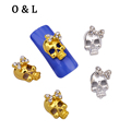 10pcs Gold Silver Bows Skull Glitter Rhinestone Jewelry Metal Nail Art Decoration 3d Alloy Nail Charms