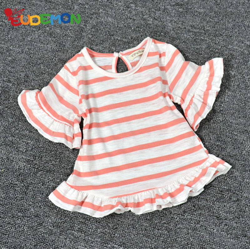 [Eudemon] Baby Girl Clothes Cotton Tops Summer Kids Clothing Pink Stripe Outwear Mid Sleeve Clothing Top(China (Mainland))