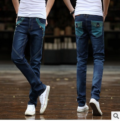 2015 Men's character pocket Elastic jeans men Slim feet fashion trousers man denim leisure long pants yl090 - dingding trading store
