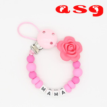 Buy Personalized Name Silicone teething pacifier clips Safe ABS beads Silicone pacifier chain Holder Nipples baby chew toys for $3.14 in AliExpress store